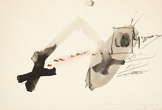Antoni Tàpies, Untitled, Ink, wash ink and wax drawing on p Antoni Tàpies, Sin título, Dibujo a tinta, tinta aguada y c