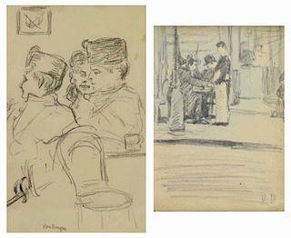 VAN DONGEN, Kees. Two Figure Drawings on Paper.