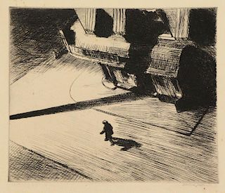 "HOPPER, Edward. Etching. ""Night Shadows"" 1921."