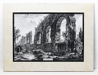 * A Pair of Prints after Piranesi 27 1/8 x 35 1/2 inches.
