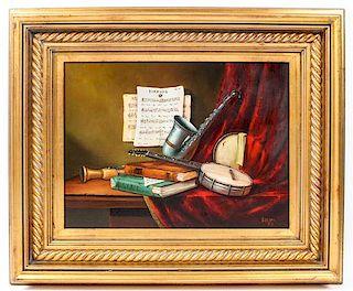 * Tibor Filkorn, (Hungarian, 1947-2009), Still Life with Musical Instruments