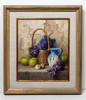 Robert Chailloux, (French, 1913-2005), Still Life with Apples and Grapes