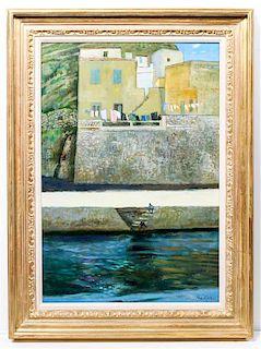 Rene Genis, (French, 1922-2004), Le Linge Sur Les Terrasses