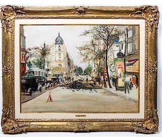 * Lucien Adrion, (French, 1889-1953), Paris Street Scene
