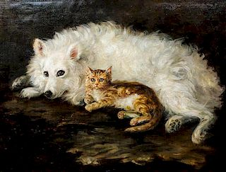 Artist Unknown, (20th century), Dog With Tabby Cat