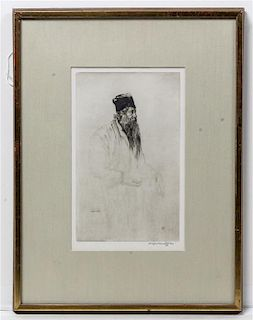 * Sir Muirhead Bone, (British, 1876-1953), Sir Rabindranath Tagore
