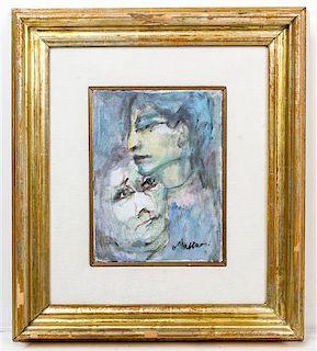 * Mino Maccari, (Italian, 1898-1989), Two Heads