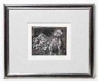 * Mino Maccari, (Italian, 1898-1989), Two Figures