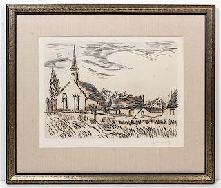 * Maurice de Vlaminck, (French, 1876–1958), Une église dans le Vexin, 1927