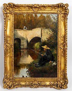Etienne Prosper Berne-Bellecour, (French, 1838-1910), Fishing by Bridge, 1876