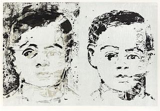 * Aaron Fink, (American, b. 1955), Untitled (Two Heads), 1987