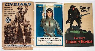 * A Group of American WWI and WWII Posters Largest 34 x 46 inches.