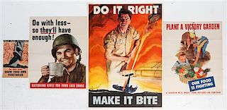 * A Group of Seven American WWII Posters Largest 39 7/8 x 28 1/4 inches.