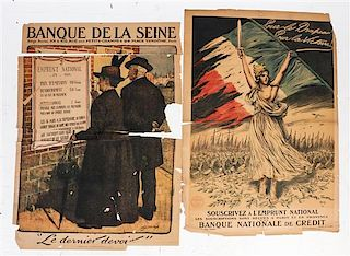 * A Group of Eight French WWI Posters Largest 47 x 44 3/4 inches.