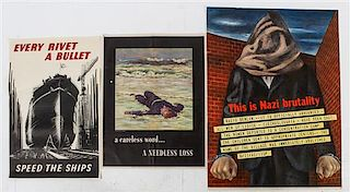 * A Group of Eleven American WWII Posters Largest 38 x 28 1/4 inches.