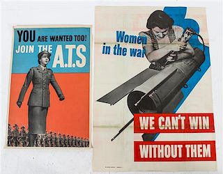 * A Group of Four Women in the War WWII Posters Largest 39 7/8 x 27 7/8 inches.