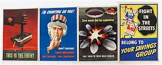 * A Group of Four American WWII Posters Largest 29 7/8 x 19 7/8 inches.