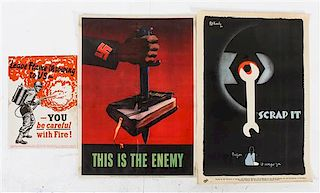 * A Group of Six American WWII posters Largest 29 7/8 x 19 3/4 inches.