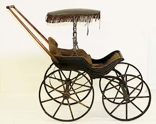 19th c doll perambulator with fringed top