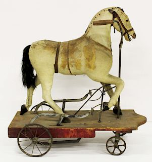 rare 19th c pedal operated hobby horse