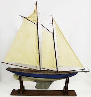 large early 20th c pond boat