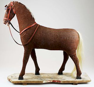 large early 20th c horse pull toy