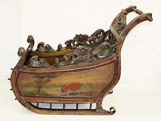 early 20th c Dutch painted sled chair