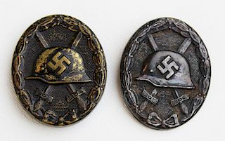 two WWII German Black Wound badges