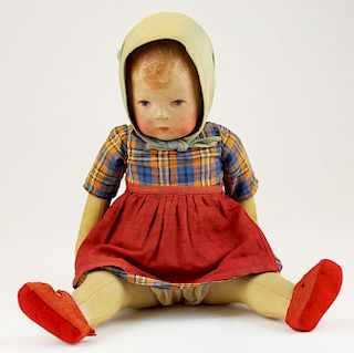 early 20th c Kathe Kruse painted cloth girl doll