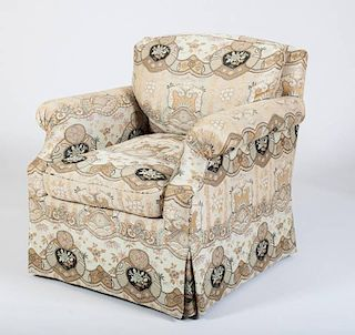 CHINOISERIE UPHOLSTERED CLUB CHAIR, DESIGNED BY JUAN PABLO MOLYNEUX