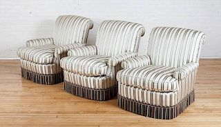 THREE STRIPED SILK CLUB CHAIRS, DESIGNED BY JUAN PABLO MOLYNEUX