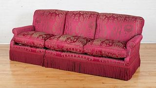 CRIMSON DAMASK UPHOLSTERED THREE-SEAT SOFA, DESIGNED BY JUAN PABLO MOLYNEUX