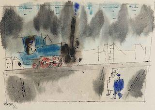 LYONEL FEININGER, (American/German, 1871-1956), (Untitled) Locomotive