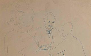 LYONEL FEININGER, (American/German, 1871-1956), Cafe Scene