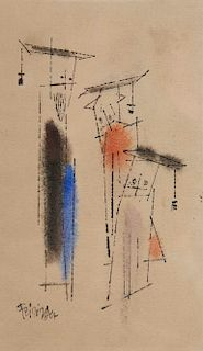 LYONEL FEININGER, (American/German, 1871-1956), Untitled (Three Figures)