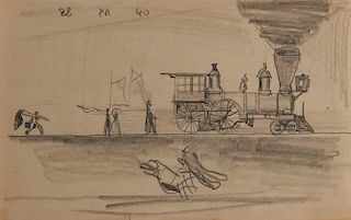 LYONEL FEININGER, (American/German, 1871-1956), Untitled (Locomotive)