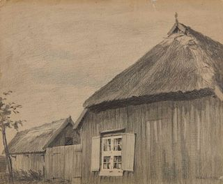 LYONEL FEININGER, (American/German, 1871-1956), (Farm House)