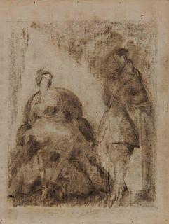 LYONEL FEININGER, (American/German, 1871-1956), (Two Figures)