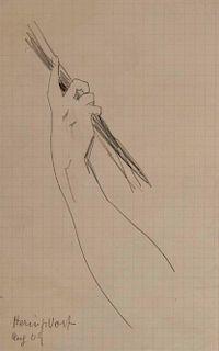 LYONEL FEININGER, (American/German, 1871-1956), (Hand with Rope)