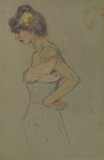 LYONEL FEININGER, (American/German, 1871-1956), (Woman)