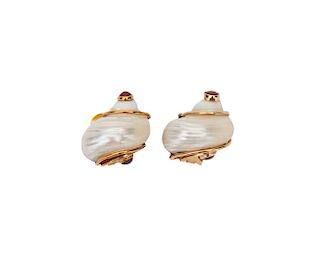SEAMAN SCHEPPS 14K Gold, Shell, and Ruby Earclips
