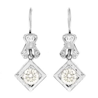 Antique European Cut Diamond Earrings