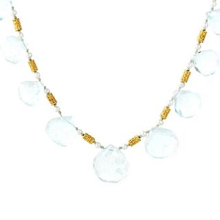 Aquamarine and 22K Gold Necklace
