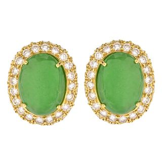 Jade, Diamond and 18K Gold Earrings