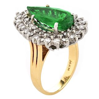 Emerald, Diamond and 14K Gold Ring