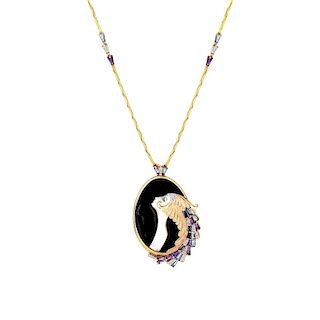 """Erte Pendant Necklace """"Beauty and the Beast"""""""