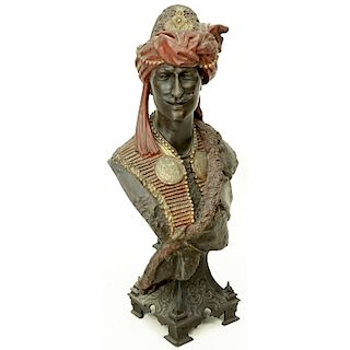 Antique French Polychrome Spelter Orientalist Bust