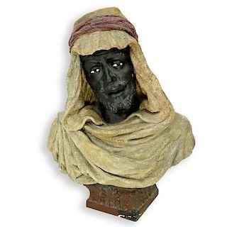 Vintage Polychrome Pottery Orientalist Bust