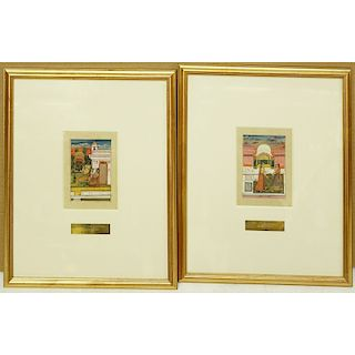 Pair of 18th Century Provincial Mughal Miniatures