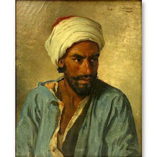 """19th C Orientalist School O/C """"Portrait Of A Man"""""""